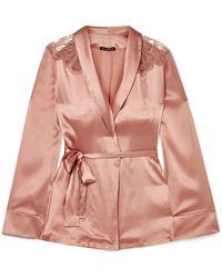 I.D Sarrieri - Chantilly Lace-trimmed Silk-satin Pajama Top - Lyst