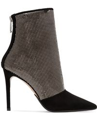 Balmain - Chainmail-embellished Suede Ankle Boots - Lyst