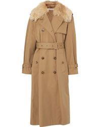 Elizabeth and James - Stratford Shearling-trimmed Cotton-blend Twill Trench Coat - Lyst
