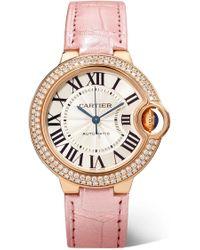 Cartier - Ballon Bleu De 33mm 18-karat Pink Gold, Alligator And Diamond Watch - Lyst