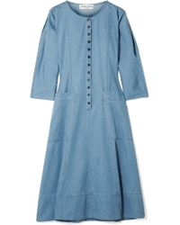 Apiece Apart - Fernwood Cotton-chambray Midi Dress - Lyst