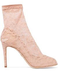 Dolce & Gabbana - Stretch-lace And Tulle Sock Boots - Lyst