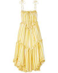 Zimmermann - Lumino Asymmetric Ruffled Striped Linen Midi Dress - Lyst