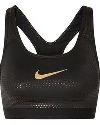 Nike - Classic Swoosh Metallic Dri-fit Stretch Sports Bra - Lyst