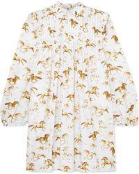 Ganni - Printed Pintucked Cotton-poplin Mini Dress - Lyst