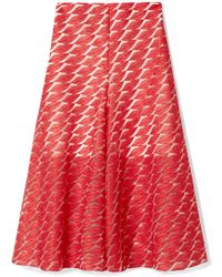 Akris - Embroidered Tulle Skirt Red Us10 - Lyst