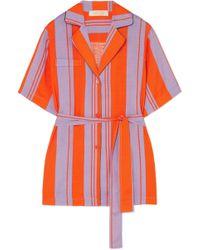 Diane von Furstenberg - Striped Silk-blend Gauze Shirt - Lyst