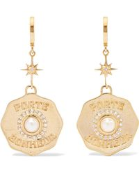 Marlo Laz - Porte Bonheur 14-karat Gold, Diamond And Pearl Earrings - Lyst