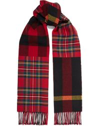 Burberry - Fringed Checked Wool Scarf - Lyst
