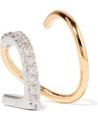 Maria Black - Bela Blanc Twirl 14-karat Gold, Rhodium-plated And Diamond Earring Gold L - Lyst