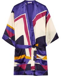 Eres - Printed Silk-satin Robe - Lyst