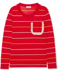 Sonia Rykiel - Ruffle-trimmed Striped Silk And Cotton-blend Sweater - Lyst