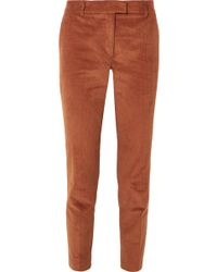 Paul & Joe - Cropped Stretch-cotton Corduroy Tapered Pants - Lyst