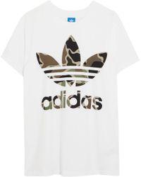 adidas Originals - Big Trefoil Oversized Printed Cotton-jersey T-shirt - Lyst