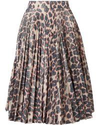 CALVIN KLEIN 205W39NYC - Pleated Leopard-print Taffeta Midi Skirt - Lyst