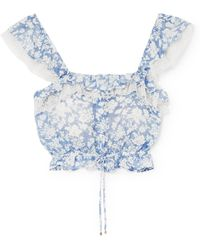 LoveShackFancy - Mia Ruffled Floral-print Cotton And Silk-blend Voile Top - Lyst