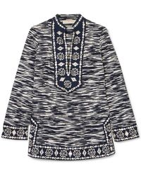 Tory Burch - Embellished Printed Cotton-voile Tunic - Lyst