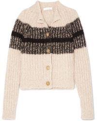 Chloé - Striped Ribbed Wool-blend Cardigan - Lyst