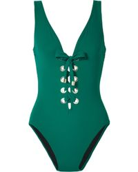 Karla Colletto - Viviana Lace-up Eyelet-embellished Underwired Swimsuit - Lyst