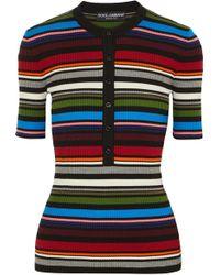 Dolce & Gabbana - Striped Ribbed Cotton-blend Jumper - Lyst