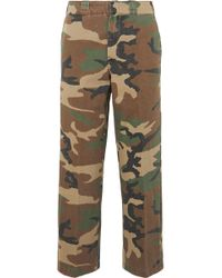 R13 - Slouch Cropped Camouflage-print Cotton-twill Wide-leg Pants - Lyst