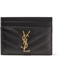 Saint Laurent - Quilted Textured-leather Cardholder - Lyst
