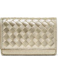Bottega Veneta - Metallic Intrecciato Leather Wallet - Lyst