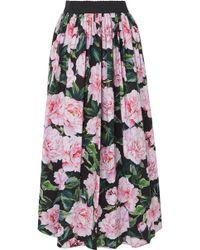 Dolce & Gabbana - Gathered Floral-print Cotton-poplin Maxi Skirt - Lyst