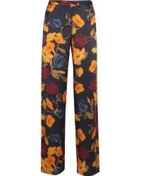 Mother Of Pearl - Lina Printed Silk-satin Straight-leg Trousers - Lyst