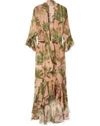 Adriana Degreas - Toucan Ruffled Printed Silk-georgette Maxi Dress - Lyst