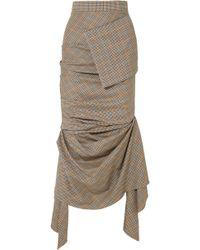 Awake - Asymmetric Gathered Plaid Wool Midi Skirt - Lyst