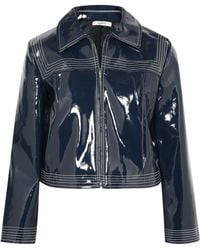 Ganni - Cropped Faux Patent-leather Jacket - Lyst