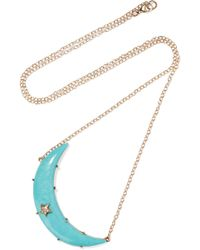 Andrea Fohrman | Crescent Moon 14-karat Gold, Turquoise And Diamond Necklace | Lyst