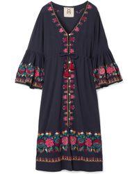 Figue - Junie Embroidered Cotton-voile Midi Dress - Lyst
