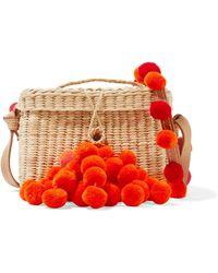 Nannacay - Roge Pompom-embellished Leather-trimmed Woven Raffia Shoulder Bag - Lyst