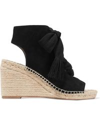Chloé - Harper Lace-up Suede Espadrille Wedge Sandals - Lyst