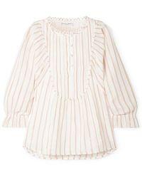 Apiece Apart Cala Striped Cotton And Lurex-blend Voile Top