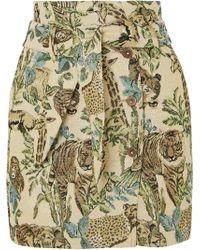 Nanushka - Sedu Belted Metallic Jacquard Mini Skirt - Lyst
