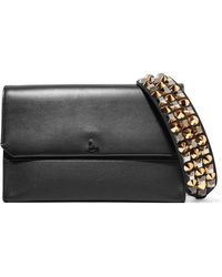Christian Louboutin - Loubiblues Studded Smooth And Textured-leather Clutch - Lyst