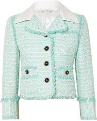 Alessandra Rich - Twill-trimmed Embellished Tweed Jacket - Lyst