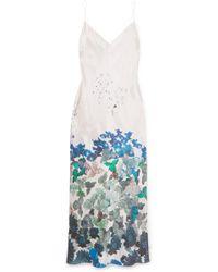 Meng - Floral-print Silk-satin Midi Dress - Lyst