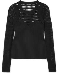 Narciso Rodriguez - Panelled Open-knit Jumper - Lyst
