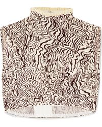 Chloé - Ruffle-trimmed Cropped Printed Silk Crepe De Chine Top - Lyst