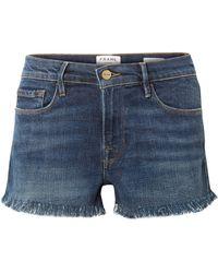 FRAME - Le Cutoff Frayed Denim Shorts - Lyst