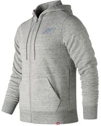 New Balance - Heather Full Zip Hoodie - Lyst