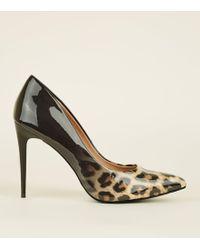 New Look - Black Patent Ombré Leopard Print Courts - Lyst