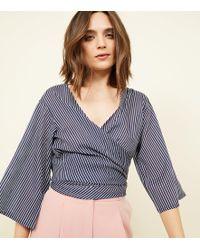 New Look - Black Stripe Wrap Tie Top - Lyst