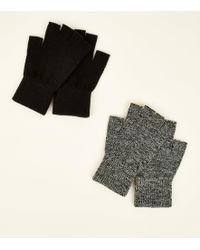 8cc5a8cf New Look - 2 Pack Black Marl Men's Fingerless Gloves - Lyst