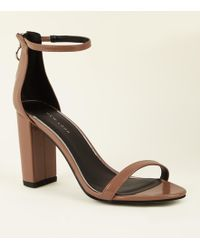 2cdd590c063 New Look - Camel Patent Ankle Strap Ring Zip Block Heels - Lyst