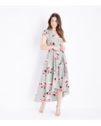 AX Paris - Light Grey Floral Dip Hem Maxi Dress - Lyst